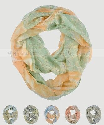 Butterfly Flower Floral Block Circle Loop Wrap Infinity Scarf Multi Color Soft