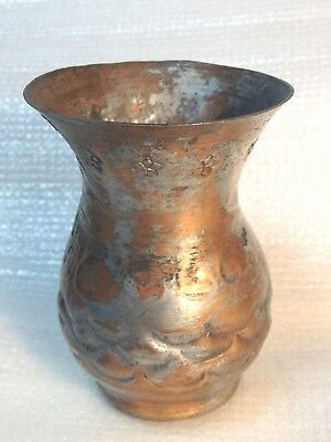 Antique Egypt Egyptian Hand Made Copper Cup Bud Vase Middle East Collectable