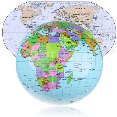 36cm Inflatable Earth World Globe Map Beach Ball Educational Geographical Toy AU