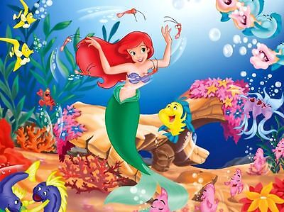 The Little Mermaid Ariel Rectangle Edible Cake Topper Can be Personalised 27x20c