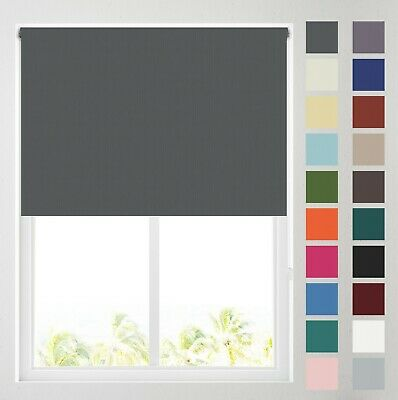 Plain Self Coloured Thermal Blackout Roller Blinds - FREE CUT TO SIZE
