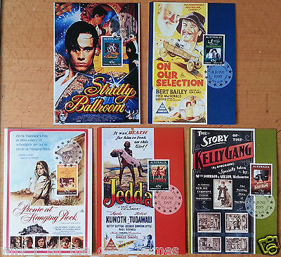 5 x FIRST DAY OF ISSUE 1995 Stamped 45c POSTCARDS Centenary of Australia Cinema