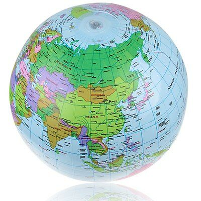 "14"" Globe Inflate Inflatable Earth World Teacher Beach Ball Toy Free Shipping"
