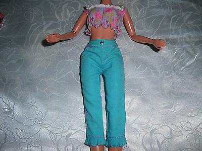 """BARBIE LABEL SUMMER FLOWER TOP & TURQUOISE TROUSERS FOR 12"""" DOLLS GC USED."""