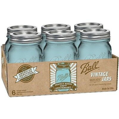 6 Pack 16 OZ Pint Mason Jars w/Lids Canning Ball Heritage Collection Blue Pickle