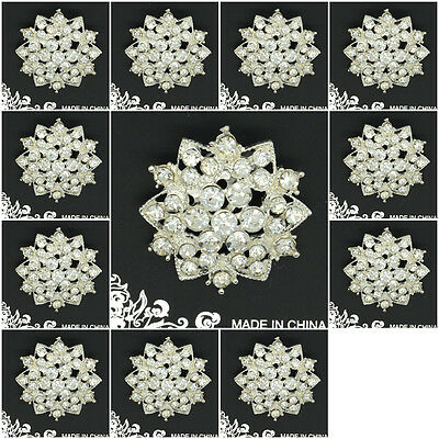 Fashion Brooches Flower Crystal Rhinestone Brooch Pin Silver Color 12 Pcs