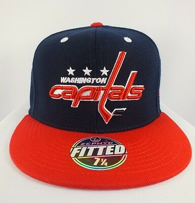 Washington Capitals Nhl Adult Fitted Cap Flat Brim New Hat By Zephyr  E-50