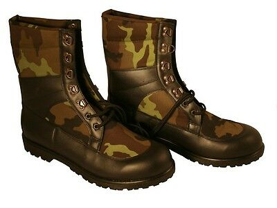Woodland Camouflage Boots Czech Military, Leather and Nylon, Military Surplus.
