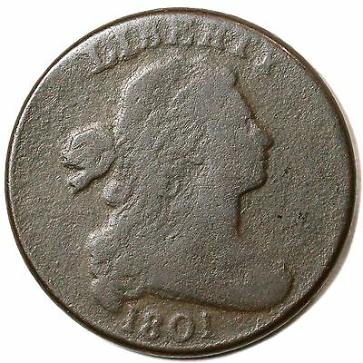 1801 S-219 R-2 Draped Bust Large Cent Coin 1c