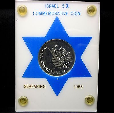 1963 Israel 5 Lirot ✪ Seafaring ✪ Silver Gem Uncirculated L@@k Now ◢Trusted◣