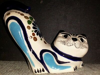 Vintage Tonala Pottery Cat Figurine Blue Floral Butt in the Air Kitty