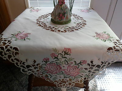 """PINK ROSES Embroidered 33"""" Square Table Topper Tablecloth"""