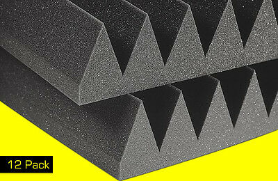 """Soundproofing Studio Foam Acoustic Absorption Wedge Panels 2""""x12""""x12"""" (12 Pack)"""