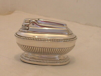 RONSON  QUEEN ANNE DESIGN SILVER PLATED  GAS TABLE LIGHTER