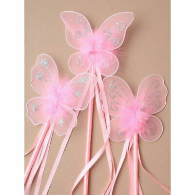 Butterfly Princess Fairy Wand Glitter Detail Ribbons Fancy Dress Flower Girls