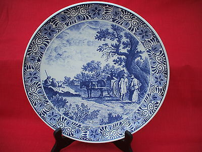 vintage ceramic large delft blauw charger wall plate maastricht holland