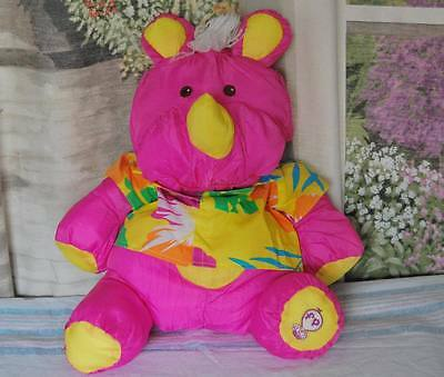 1987 Puffalump PINK RHINO yellow Hawaiian Shirt Fisher Price Baby Plush toy EUC
