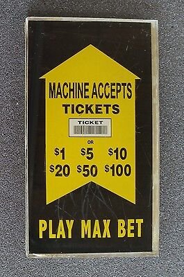 IGT Slot Machine Bill Validator Side Glass Accepts Tickets or Bills Play Max Bet