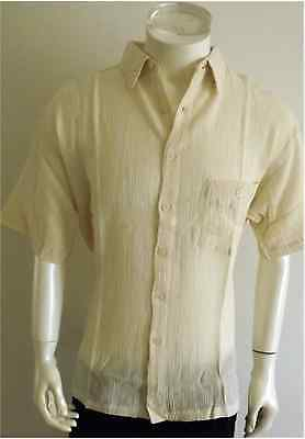 BNWT  men,s s/s Beige cheese cloth shirts,size=L