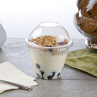 Pack of 10 Clear Plastic Parfait Cup 9 oz with 2 oz Insert and Dome Lid