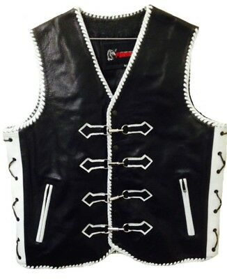 Motorcycle Leather Vest Designer Custom Motorbike Biker Rider Waistcoat Braided