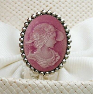 PINK VICTORIAN LADY CAMEO ON OLD SILVER FINISH HATPIN