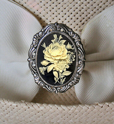 IVORY COLOR FLOWER ON BLACK CAMEO and SILVER FINISH HATPIN  - Ladies Hat pins