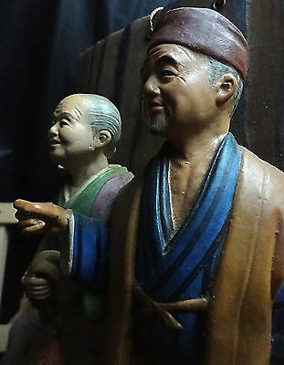 Antique Japanese Collector's Delight -- Man & Woman Carved Figures