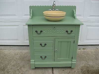 Antique Green Painted Washstand Vanity w/ Watt Starflower Pottery Bowl & Faucet