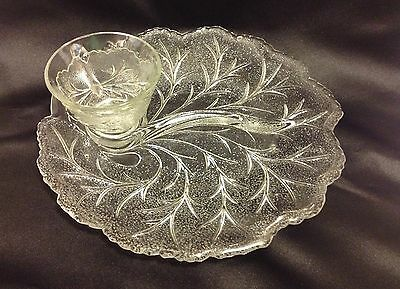 """Set 6 Indiana Glass Pebble Leaf Divided Snack Plates & Cups Clear 10"""" VTG"""