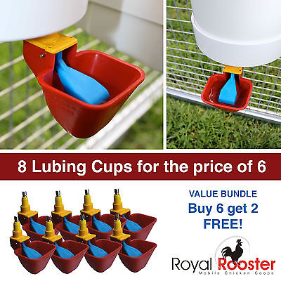 ROYAL ROOSTER Lubing Drinker Cup Poultry Chicken Waterer Nipple - 8 Pack