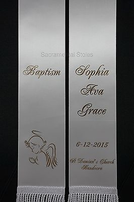 Personalised BAPTISM Christening Stole Sash ANGEL (1m) Infant Baby Style 3