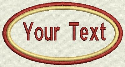 """12 Double Border Name Oval Tag, Biker Patch, badge 4.5""""x 2.5"""" Iron On"""