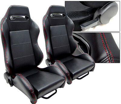 1 Pair Black Leather + Red Stitch Racing Seats Reclinable Acura