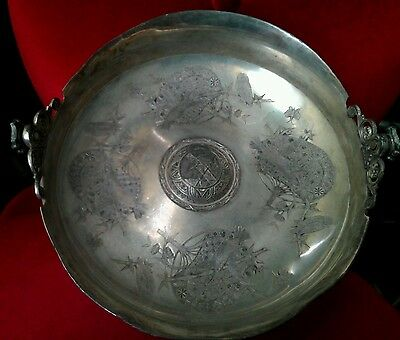 ORNATE VICTORIAN SILVER PLATE CENTERPIECE MISSING HANDLE DERBY SILVER  DERBY CT