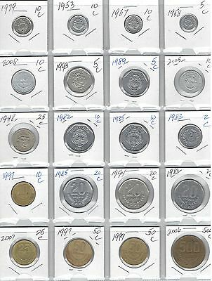 COSTA RICA Lot of 20 Different Coins - Nice Costa Rican Coin Lot