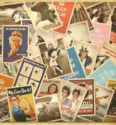 Lot of 32 Retro Vintage Post card Postcard Postcards Cards World War II 100% New