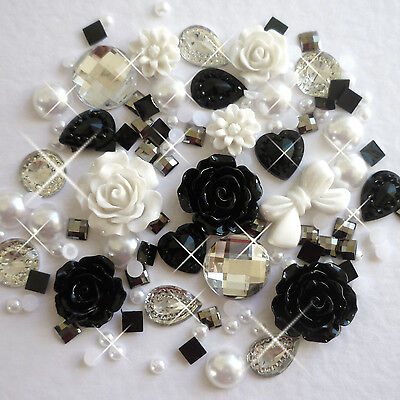 14g Monochrome Pearls/Roses/Gems Flatback Kawaii Cabochons Decoden Crafts M2 NEW