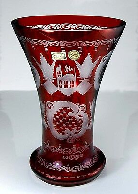 LARGE HEAVY VINTAGE BOHEMIAN RED CUT GLASS VASE ORIGINAL LABEL! FREE SHIPPING!