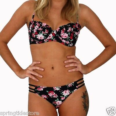 DAISY Padded Bikini Top or Strappy Hipster Bottom - Vintage Black Floral