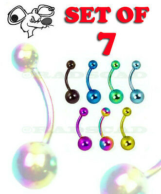 7 x JOB LOT TITANIUM ANODIZED navel bar barbell belly ring body piercing B13
