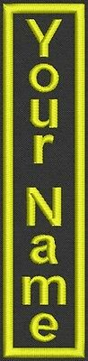 "1 Embroidered Vertical  Patch, Tag, badge 1.5"" x 7"" Iron On or Sew On"