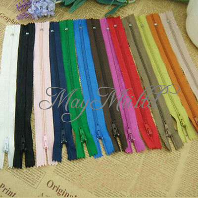 50 Assorted Dress Upholstery Craft Nylon Metal Closed Open Ended Zips New E