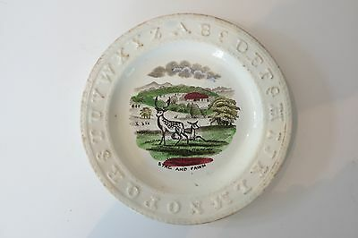 STAFFORDSHIRE ABC ALPHABET PLATE- STAG AND FAWN