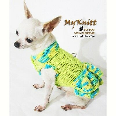 Cute Dog Dress Pet Clothing Rustic Puppy Clothes Yorkie Handmade Crochet DK973