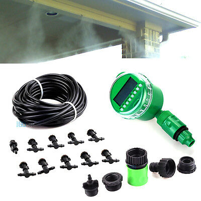 Automatic Misting Cooling System Watering Irrigation LCD Timer Kit Nozzles Spray