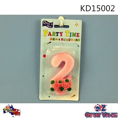 Glitter Number '2' Candle Pink with Rose Pattern Kids Birthday KD15002
