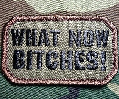 What Now B*tches! Usa Army Combat Morale Tactical Military Forest Hook Patch