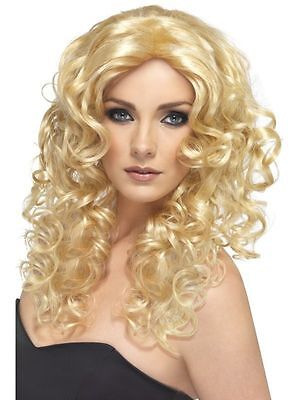 Ladies Girls Blonde 80s Glamour Curly Wig Fancy Dress Outfit Fun Accessory