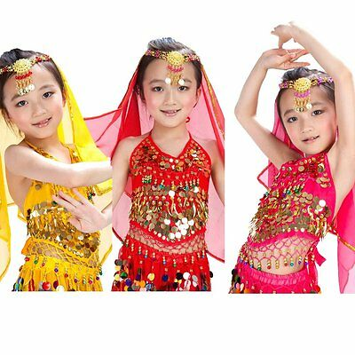Kid Belly Dance Costume Handmade Sexy Bra tops with Sequins Beads Bells For Girl